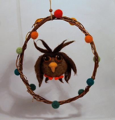 Needle felted owl mobile