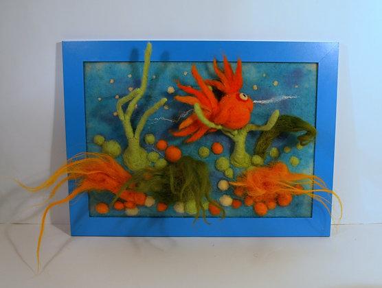 Framed needle felted goldfish