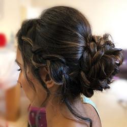 braided low bun hairstyle