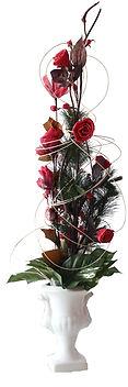 Location composition florale haute buffet fleurs rouges pas cher