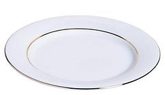 RIKILA EVENTS Paris Location assiettes rondes blanches filet or 27 cm pas cheres