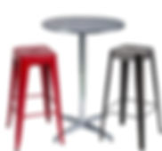 RIKILA EVENTS Paris location pack mobilier metal, mange debout, aluminium, inox, tabouret, bar, rouge, noir