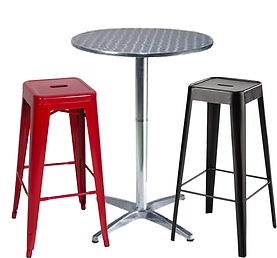 RIKILA EVENTS Paris location pack mobilier metal, tabouret, noir, rouge, mange debout, aluminium, inox