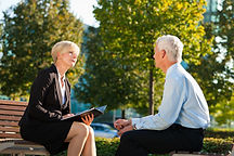 Mature Woman and Man Talking.jpg