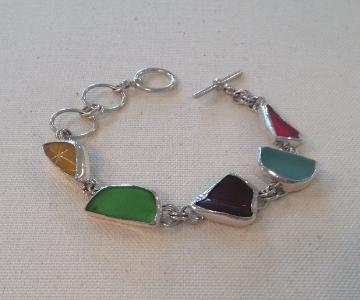Cottage Glass Brown Beach Glass Bracelet