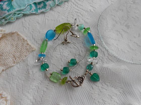 Cottage Glass Green Beach Glass Bracelet