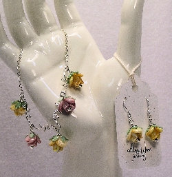 Cottage Glass Rose Lampwork Earrings