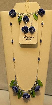 Cottage Glass Rose Lampwork Earrings