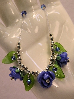 Cottage Glass Rose Lampwork Necklace