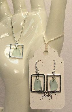 Cottage Glass Light Aqua Beach Glass Earrings