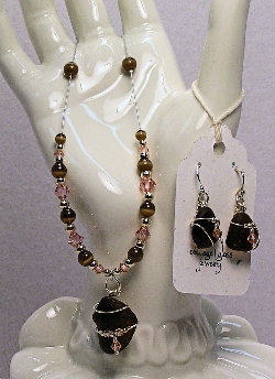 Cottage Glass Brown Beach Glass Earrings