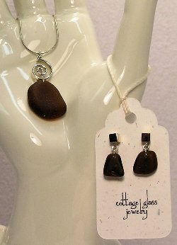 Cottage Glass Brown Beach Glass Necklace