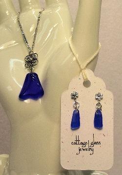 Cottage Glass Cobalt Blue Beach Glass Earrings