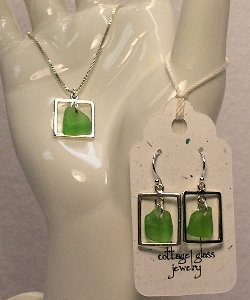 Cottage Glass Green Beach Glass Necklace