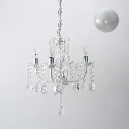 White, Four Arm Chandelier