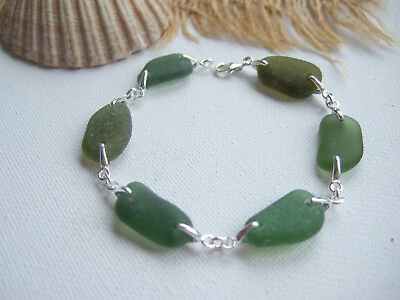 Cottage Glass Clear Beach Glass Bracelet
