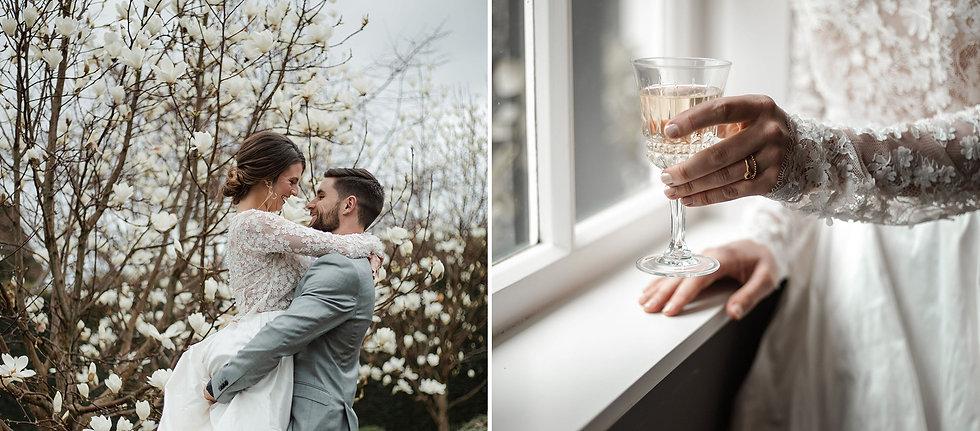 Bride groom winter magnolias