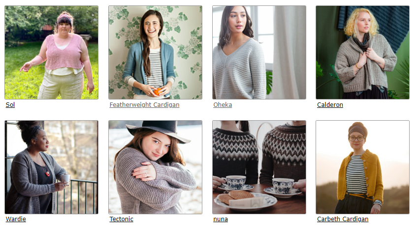 A screen shot of some of my Ravelry patterns, some pullovers, some cardigans.