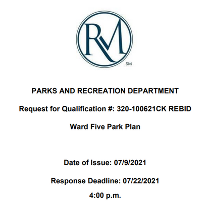 CITY OF ROCKY MOUNT TAKING BIDS TO DESIGN A PARK IN WARD 5