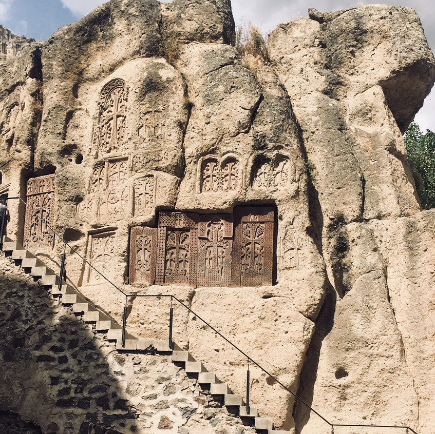 Rock cut crosses at Geghard monastery