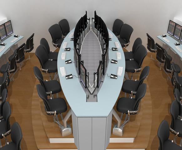 Desks with monitors