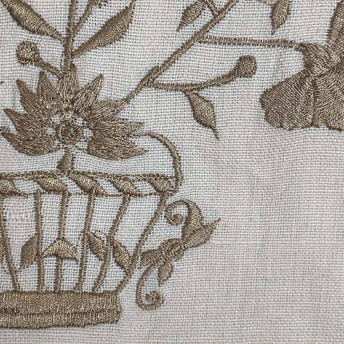 Cream/Taupe Floral Basket Embroidered