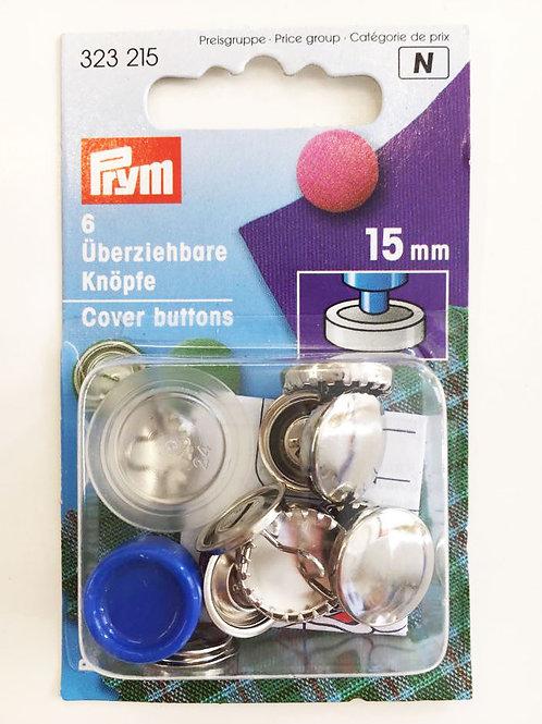 Päällystettävä nappi (metalli) 15 mm