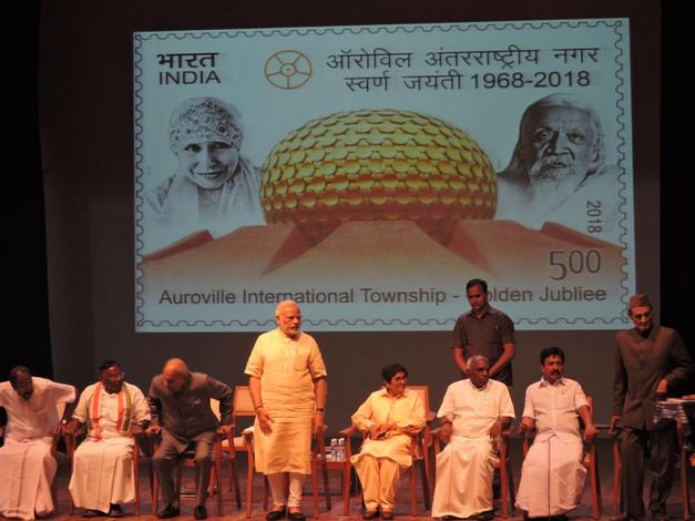 Prime Minister Narendra Modi attending Auroville's 50th anniversary at Bharat Nivas.