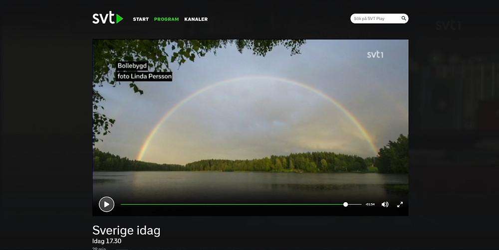My rainbow photo on Swedish Television