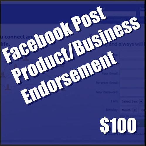 Facebook Product/Business Endorsement
