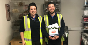 Chris Pope receives our latest employee recognition award...