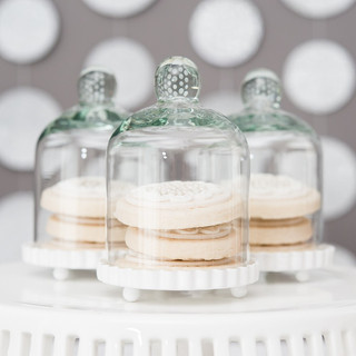 WS - Small Glass Bell Jar with White Bas