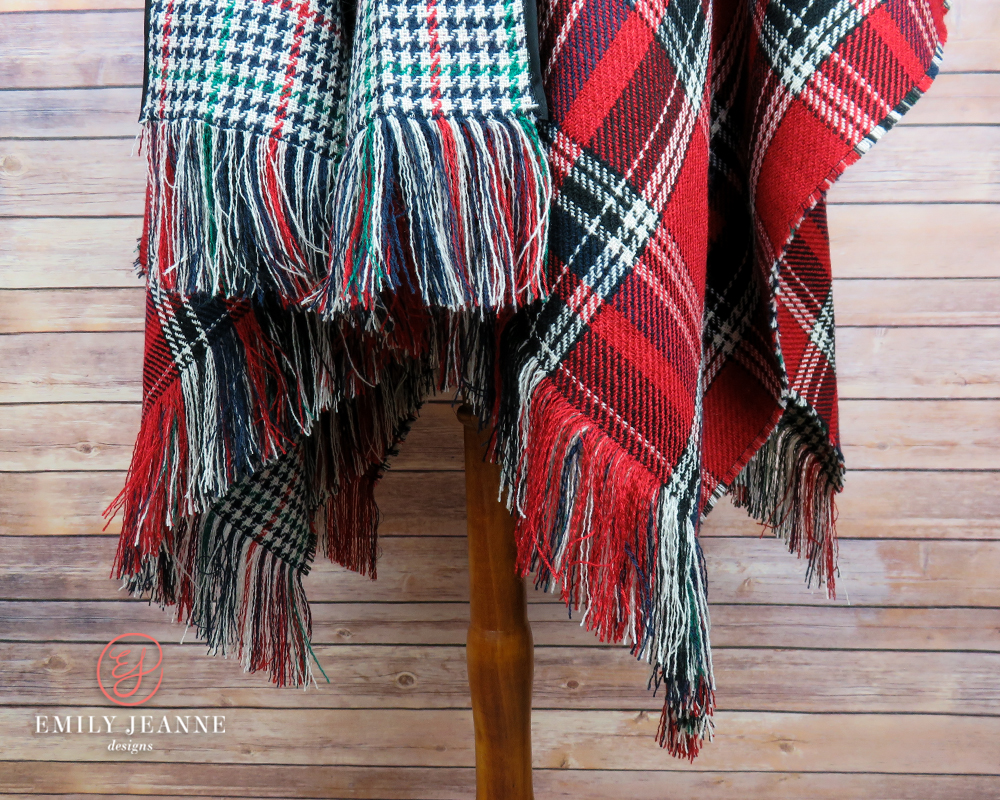 red green poncho cape