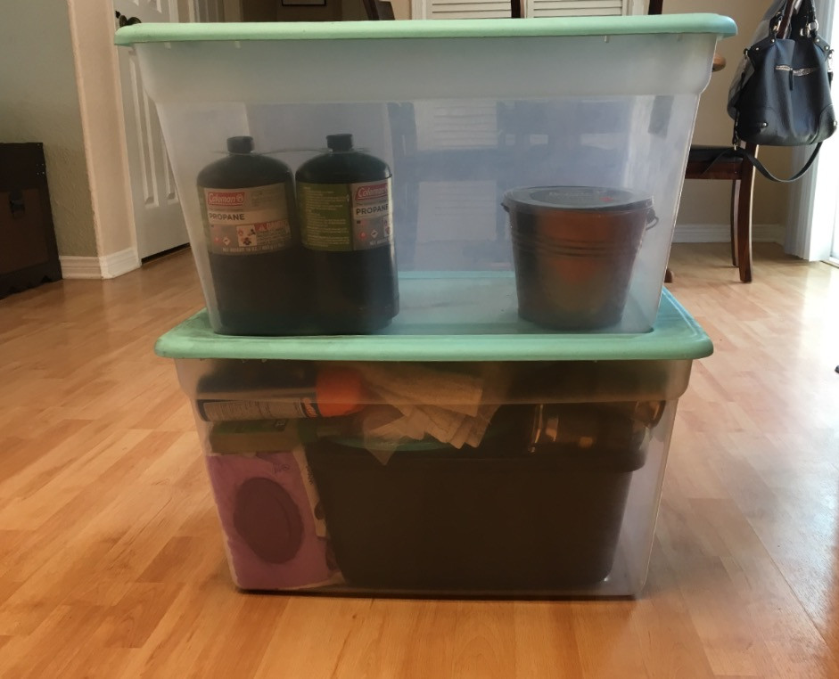 Bottom Bin: Kitchen Bing, Top Bin: Overflow Kitchen Items, All Dry Goods,  Toiletry Bags