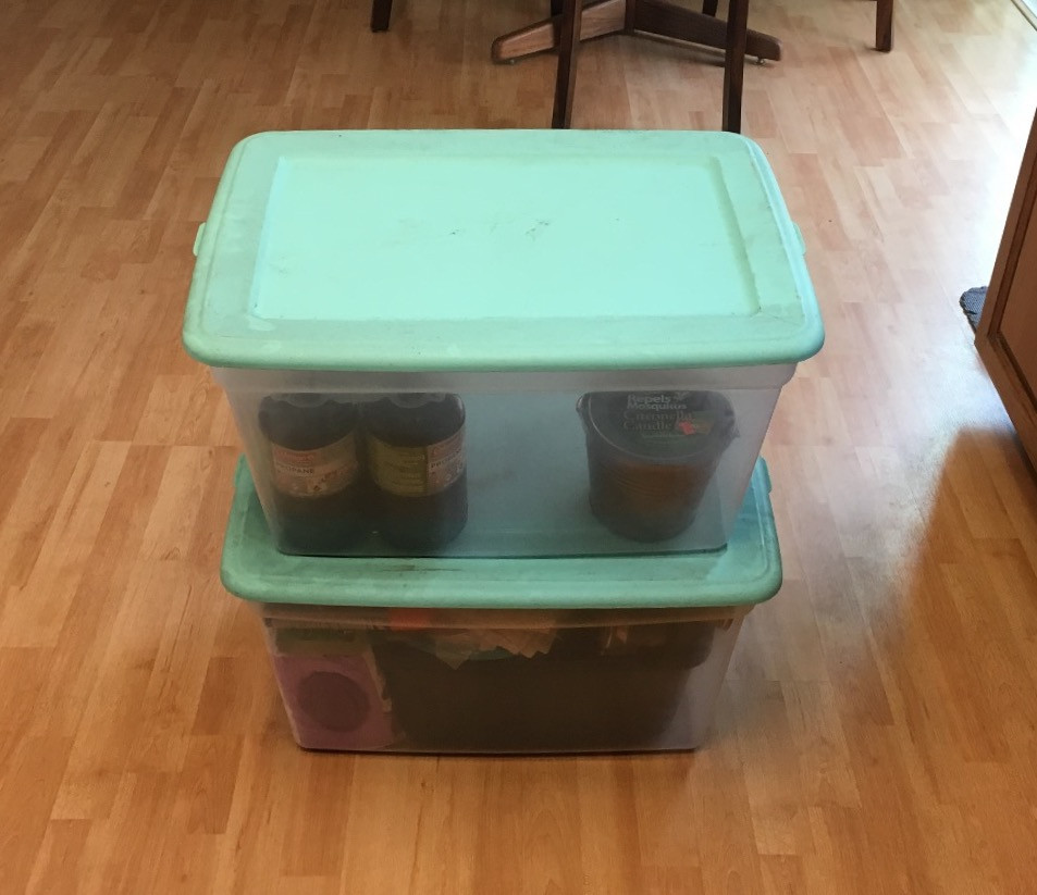Two Large Plastic Bins For Storing Camping Supplies