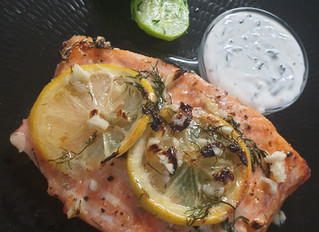 Baked Salmon w/ a Creamy Lemon Dill Sauce