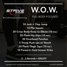 Workout For the Weekend - 1/22/21