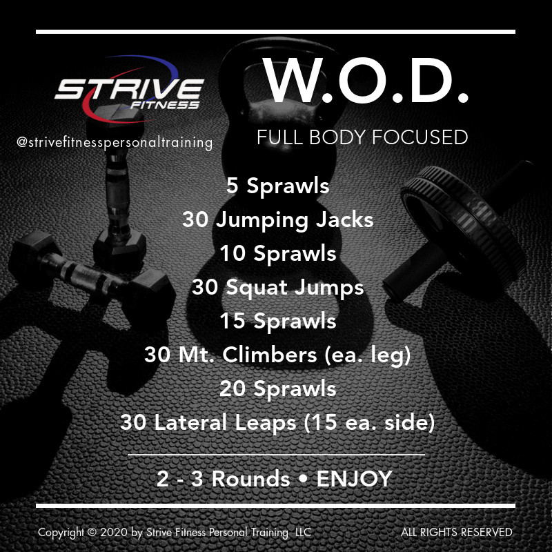 Full Body - Workout of the Day Idea!  It's all about the cardio!