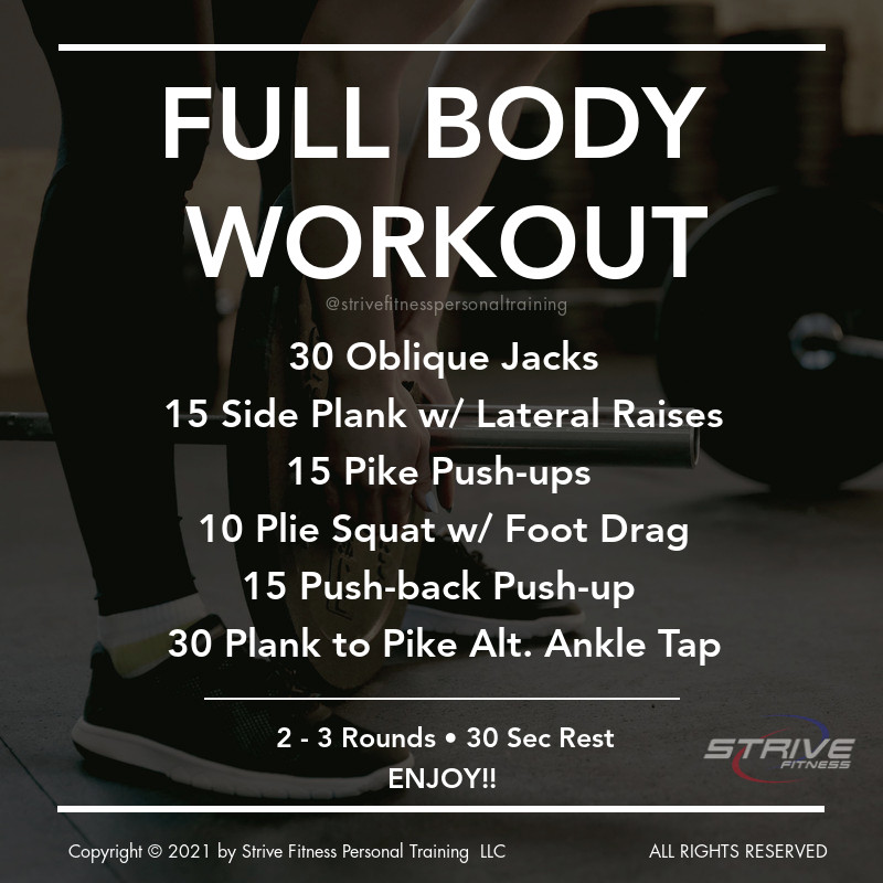 NEW #workout for the weekend 🔥🔥  ➖  💥No Equipment Needed💥 ⏱ Length: 20 min ✔ Type: Circuit ✔ Area Focus: Full Body Cardio ➖  🔱 20 Oblique Jacks (15 ea. side) 🔱 15 Side Planks w/ Lat Raises (ea. side) 🔱 15 Pike Push-ups 🔱 10 Pilé Squat w/ Foot Drag (5 ea. way) 🔱 15 Push Back Push-ups 🔱 30 Plank Alt Ankle Taps (15 ea. side)  ✅ Modifications & variations provided so no matter what your #fitness level you can get your sweat💦 on!  Give this #wod a try!!!💪  If you want to check out any of our other past Workout for the Weekend Posts check out our blog at www.strivefitnesspt.com/blog