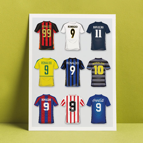 A3 print 'Ronaldo's career in shirts'