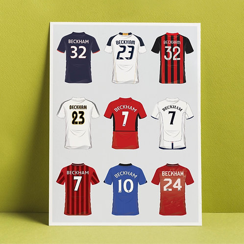 A3 print 'Beckham's career in shirts'