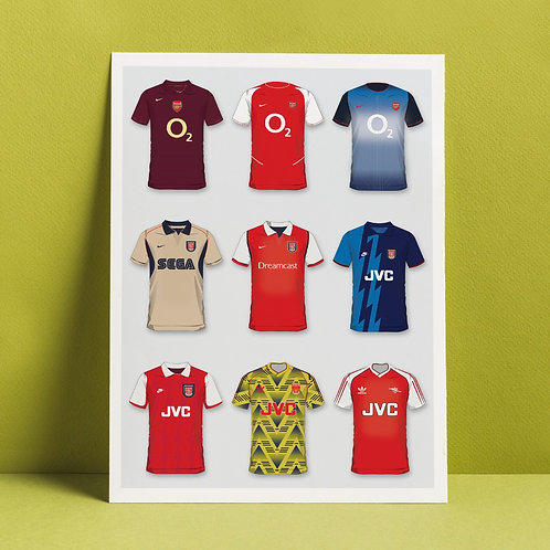 A3 print 'Arsenal's history in shirts'