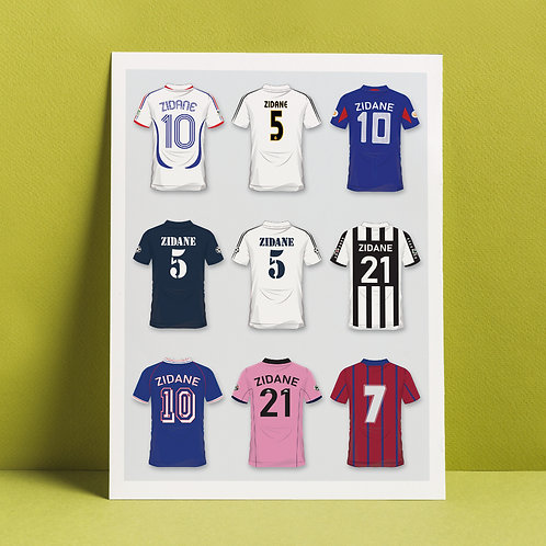 A3 print 'Zidane's career in shirts'