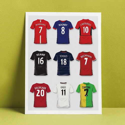 A3 print 'Man United legends in shirts'