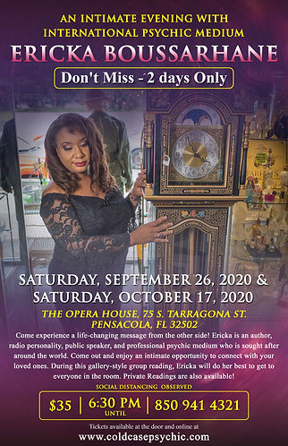 An Intimate Evening with International Psychic Medium Ericka Boussarhane
