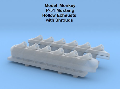 1/16 P-51 Mustang Hollow Exhausts with Shrouds