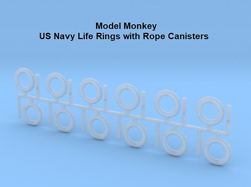 1/72 Life Rings with Rope Canisters (set of 12)