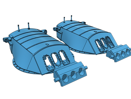 1/192 USS Pennsylvania BB-38 Turrets with Trunnions (no barrels)