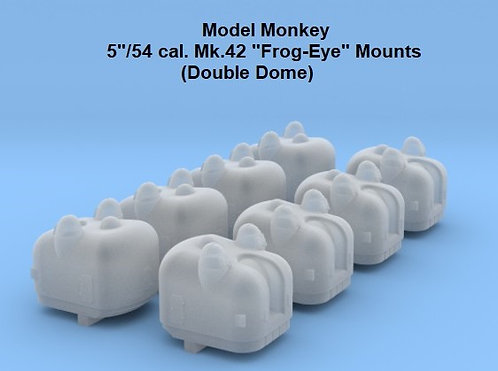 """1/800 5""""/54 Mk.42 Double Dome """"Frog-Eye"""" Mounts"""
