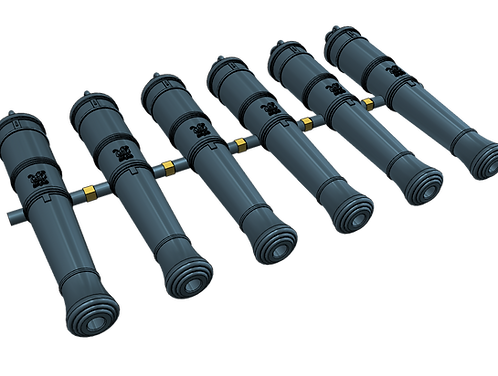 "1/96 Royal Navy 12-pounder Cannons, Blomefield 1790 ""short-pattern"" (set of 6)"